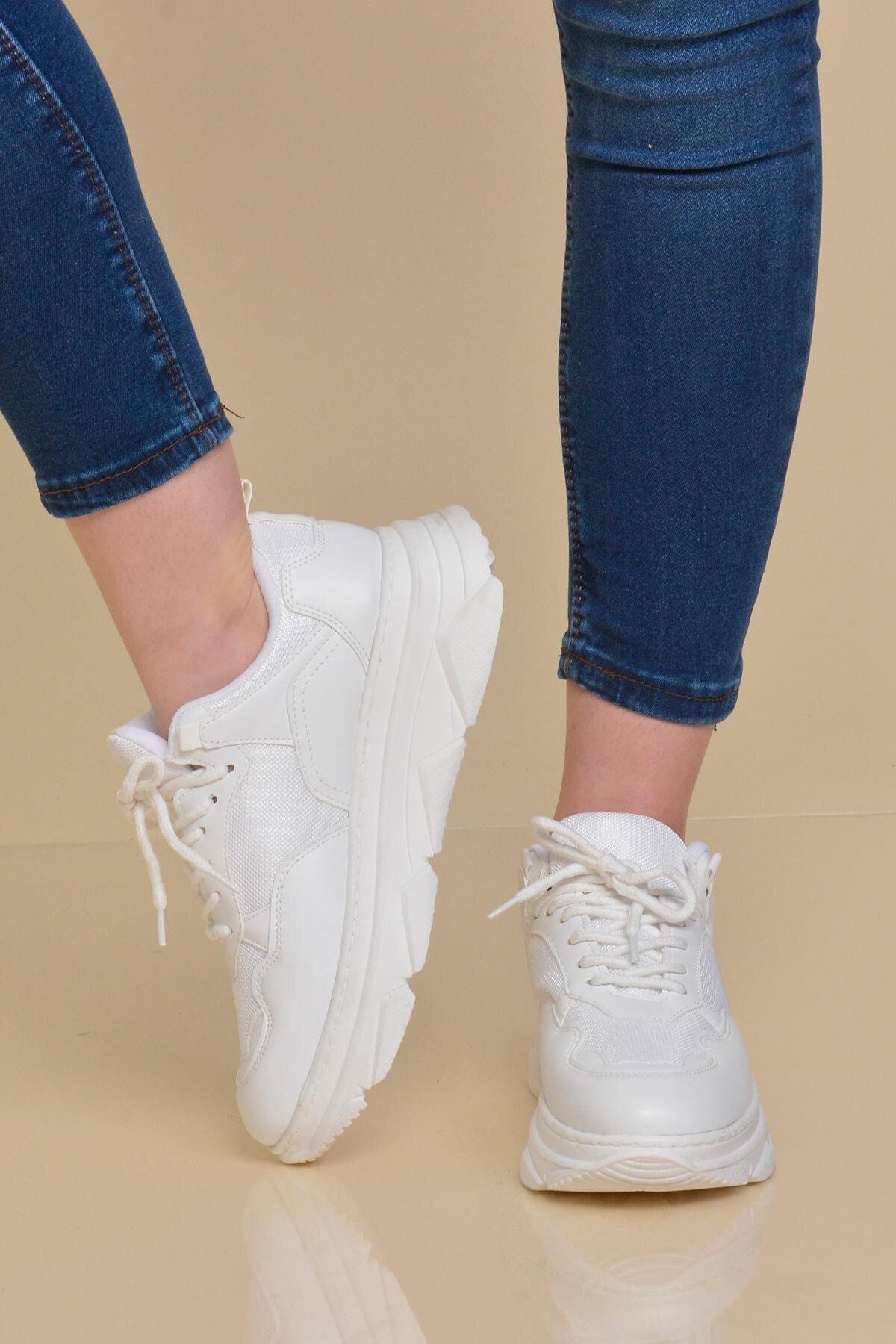 Mossta Kadın Beyaz Kalın Taban Spor Ayakkabı 1