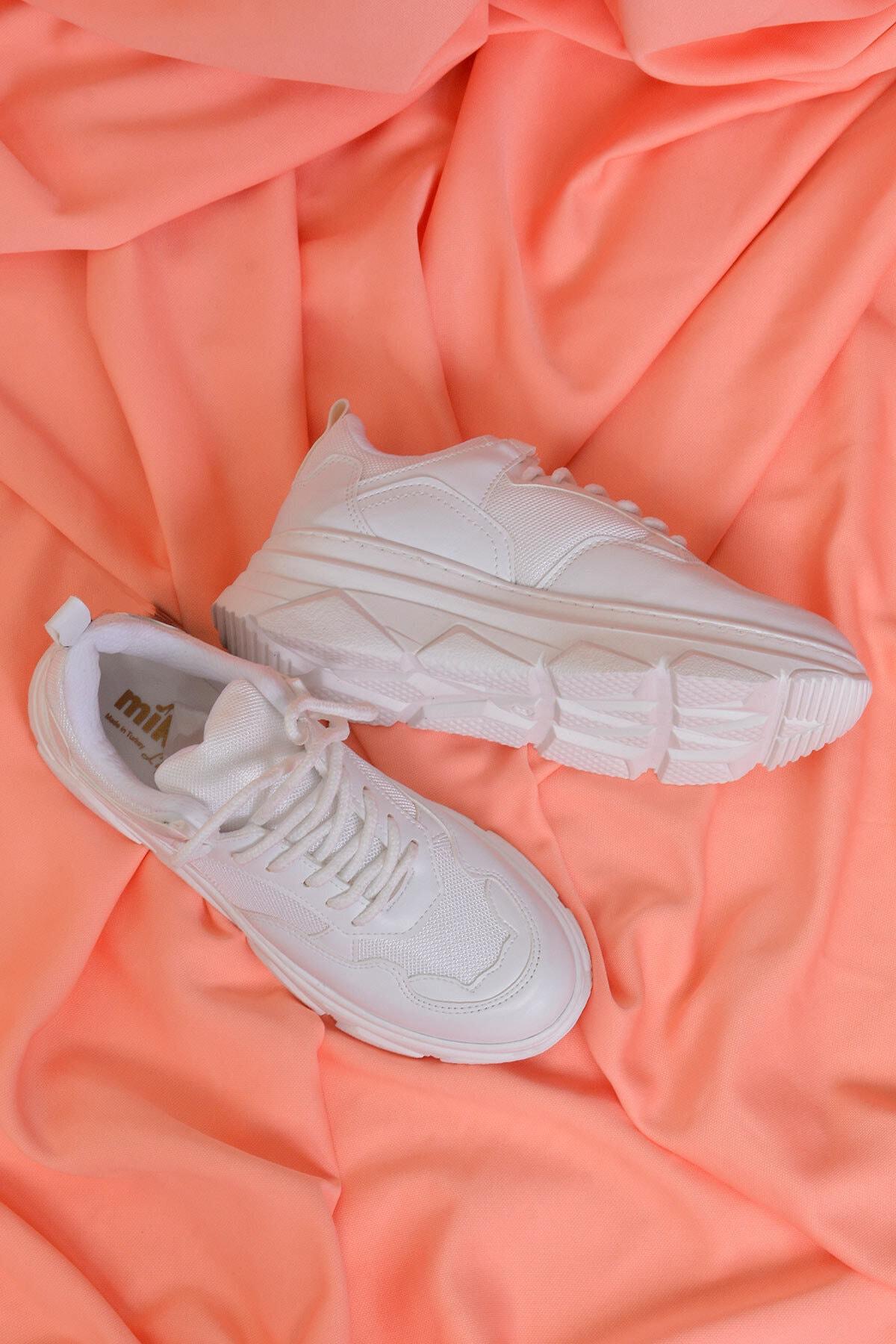 Mossta Kadın Beyaz Kalın Taban Spor Ayakkabı 2
