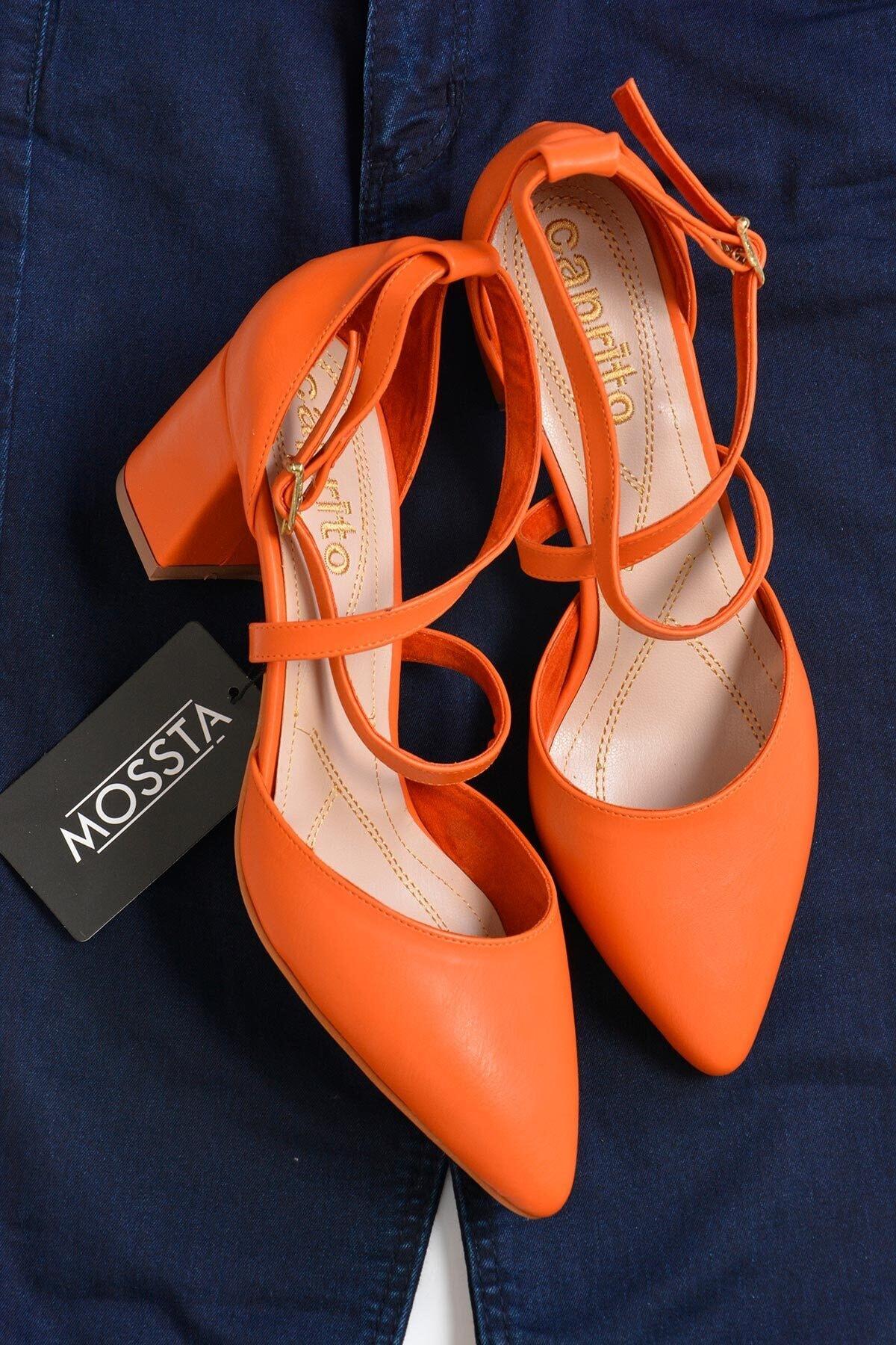 Mossta Kadın Turuncu Topuklu Sandalet 2