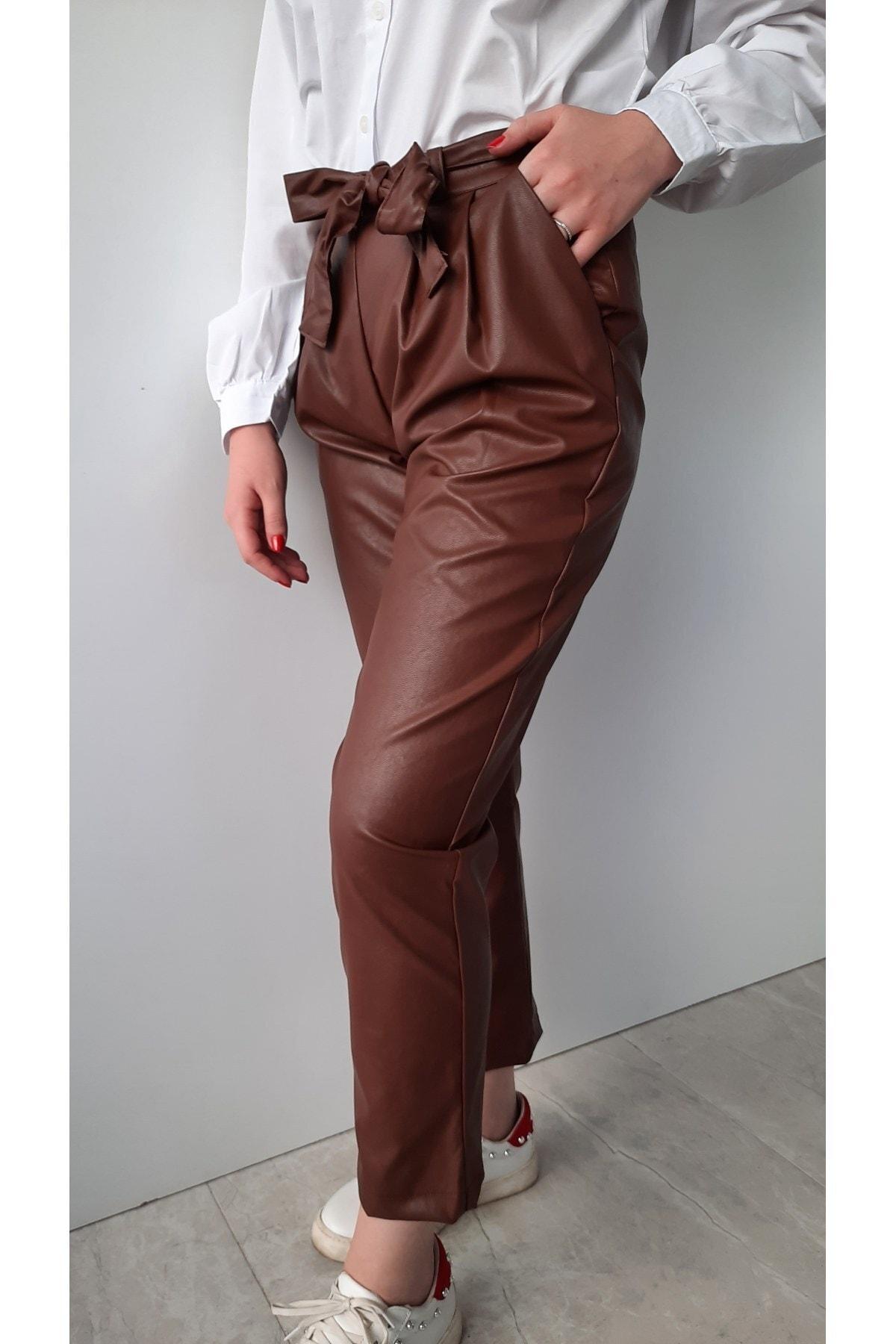 BEBE PLUS Kadın Taba Deri Kemerli Havuç Pantolon 2
