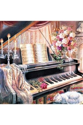 Marcel Kristal Tablo Marcel Sanat Home Serisi Siyah Piyano Salon Elmas Mozaik Puzzle Tablo 61x61cm