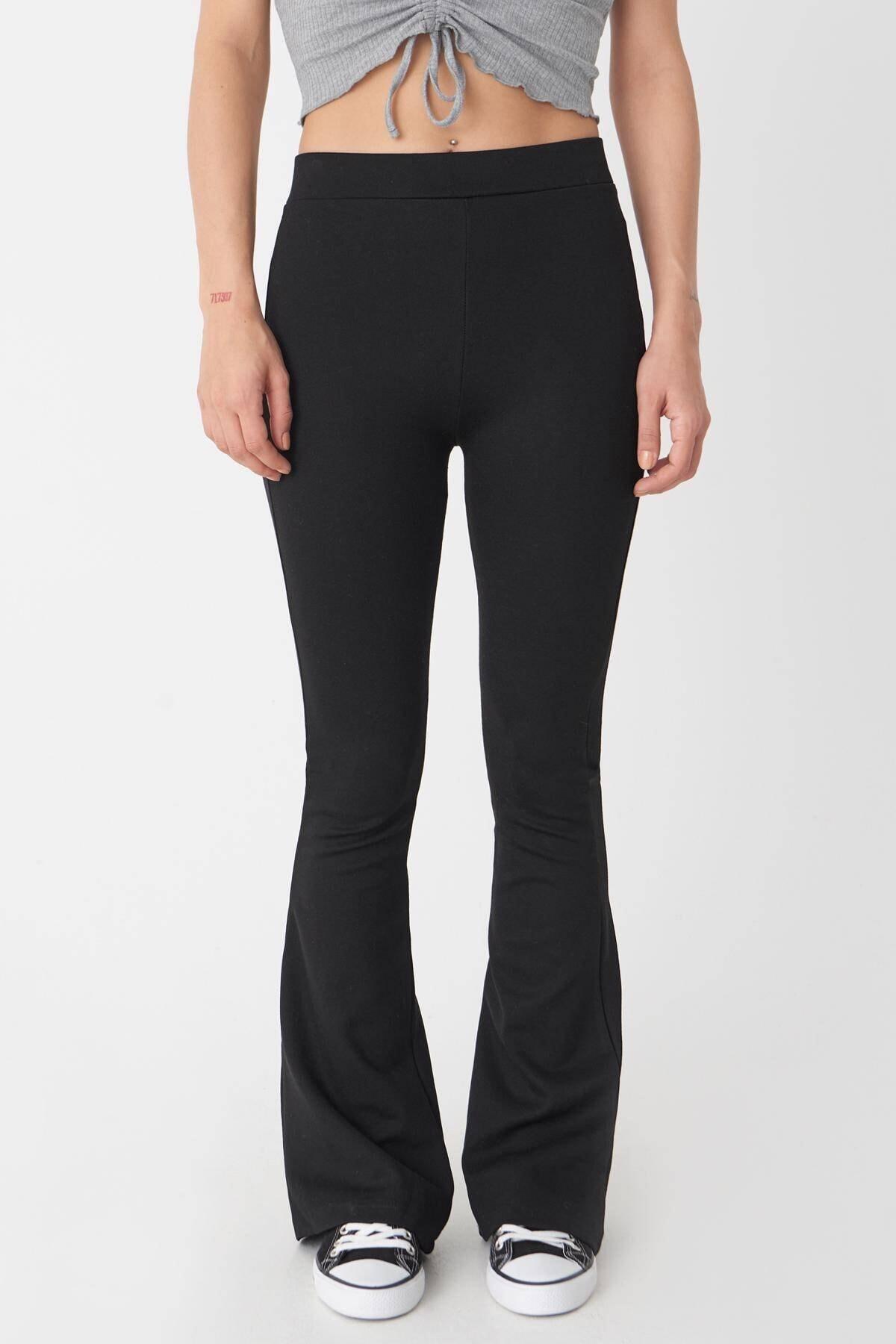 Addax Kadın Siyah İspanyol Paça Tayt Pantolon 1