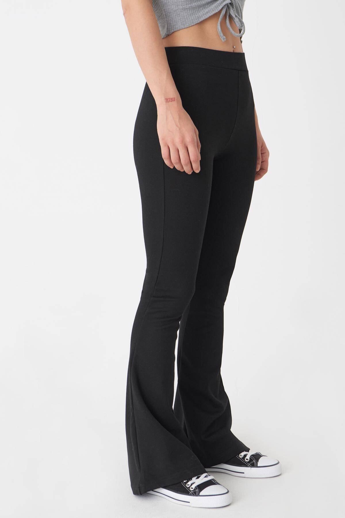 Addax Kadın Siyah İspanyol Paça Tayt Pantolon 2