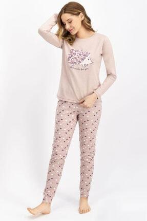 Arnetta Kadın Soluk Kahve Pijama Takım 1001