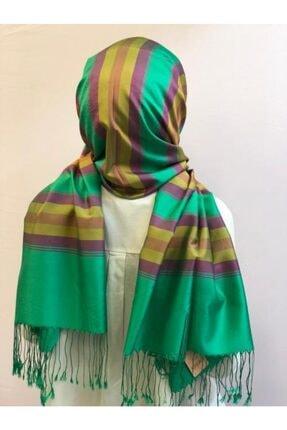 Karaca Kadın Yeşil Çift Taraflı İpek Şal