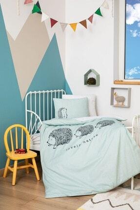 ELY PARKER Organik Bebek Nevresim Takımı %100 Pamuk Yeşil Erkek Çocuk Kız Çocuk Odası Tresillo