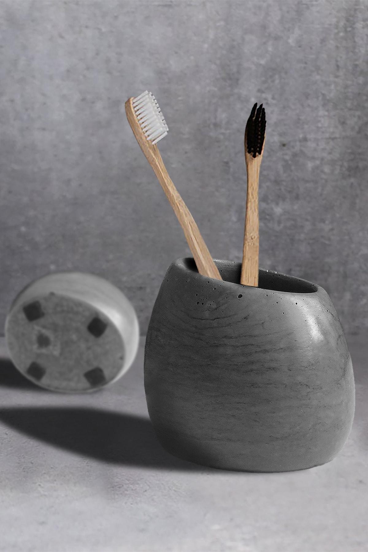 Ghogol Home Eliptik Diş Fırçalık - Koyu Gri Renkli Beton 1