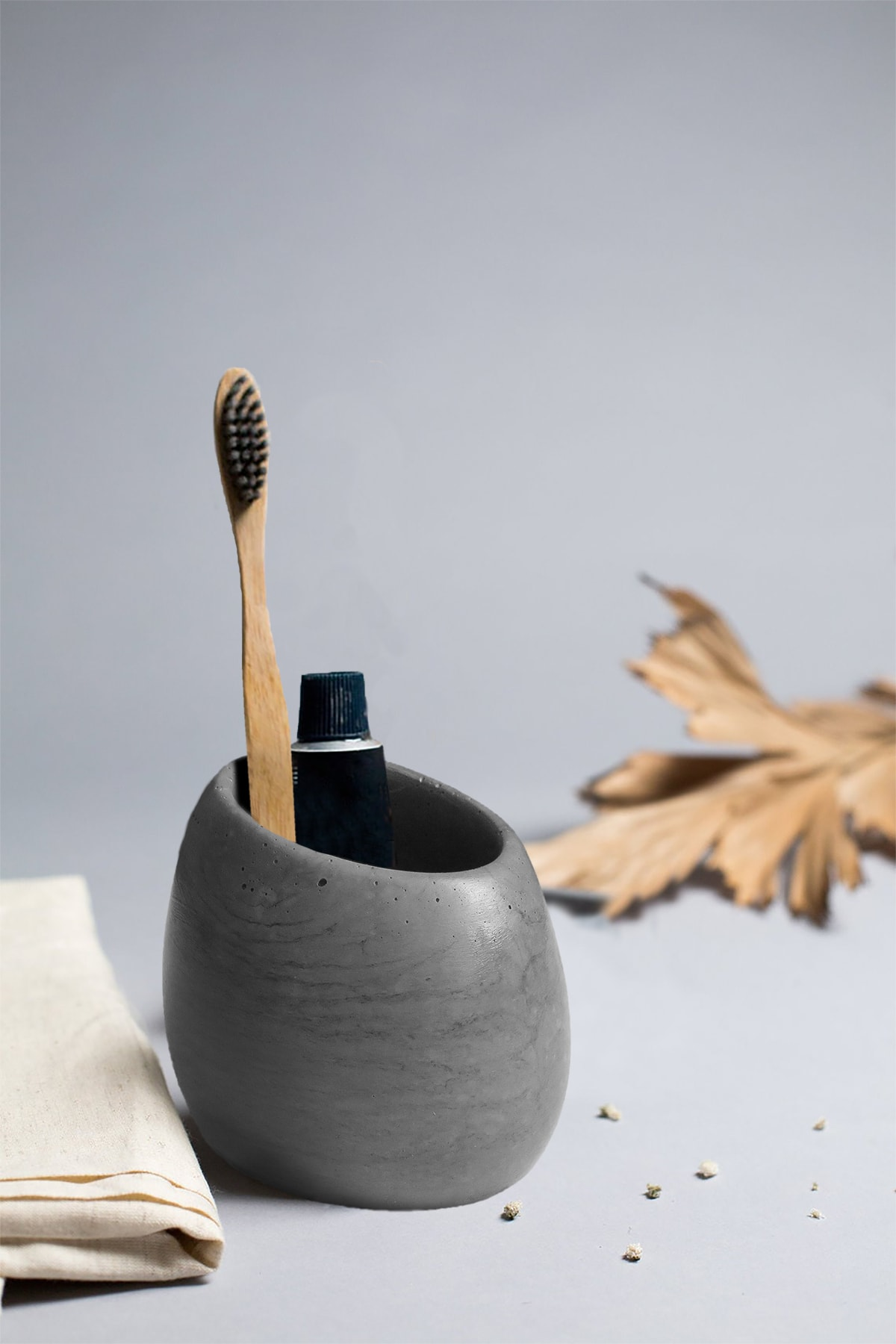 Ghogol Home Eliptik Diş Fırçalık - Koyu Gri Renkli Beton 2