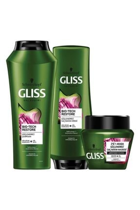 Gliss Bio-tech Güçlendirici Saç Bakım Seti (ŞAMPUAN 500 ML SAÇ KREMİ 360 ML SAÇ MASKESİ 300 ML)