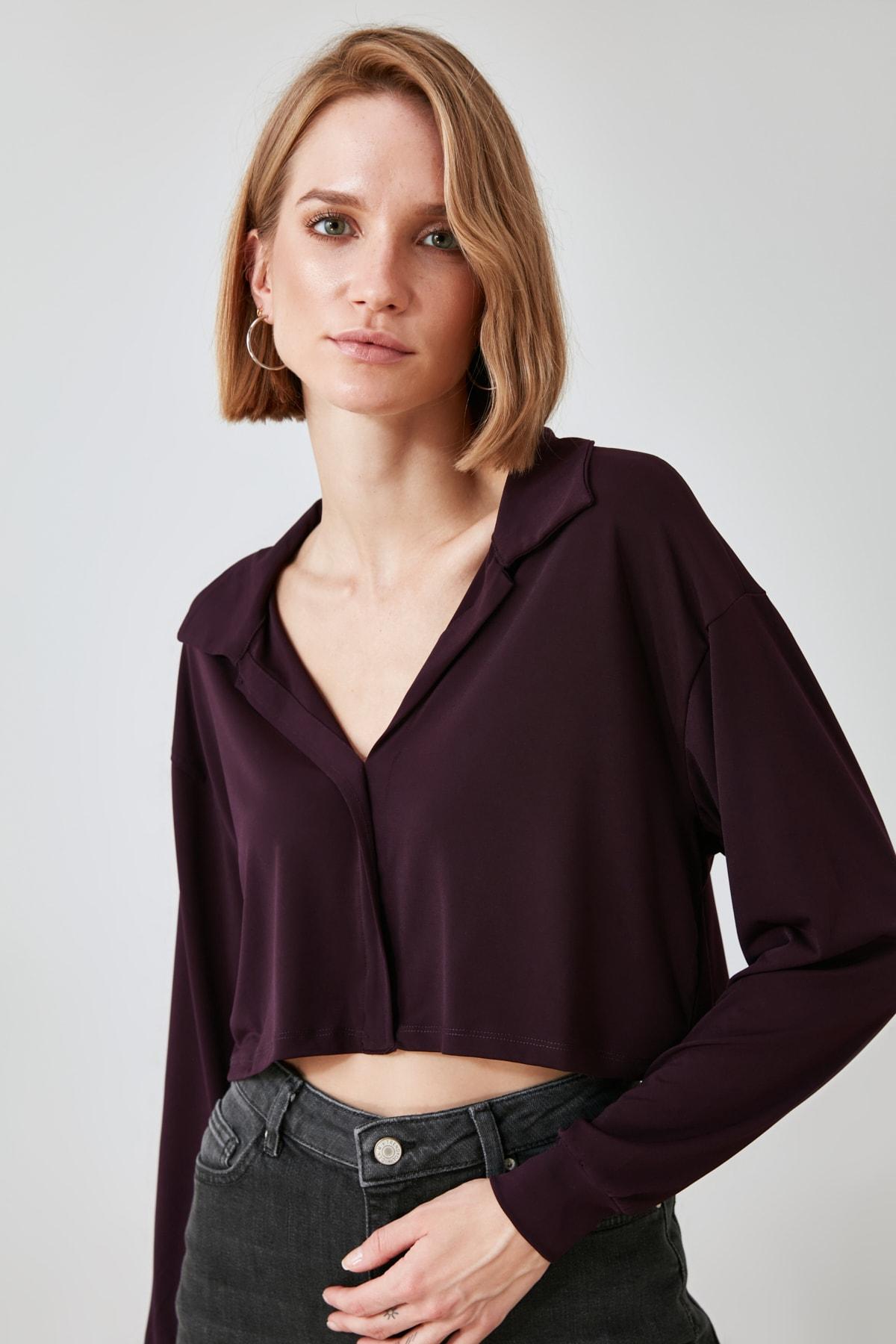 TRENDYOLMİLLA Mürdüm Basic Örme Gömlek TWOAW21GO0807 2