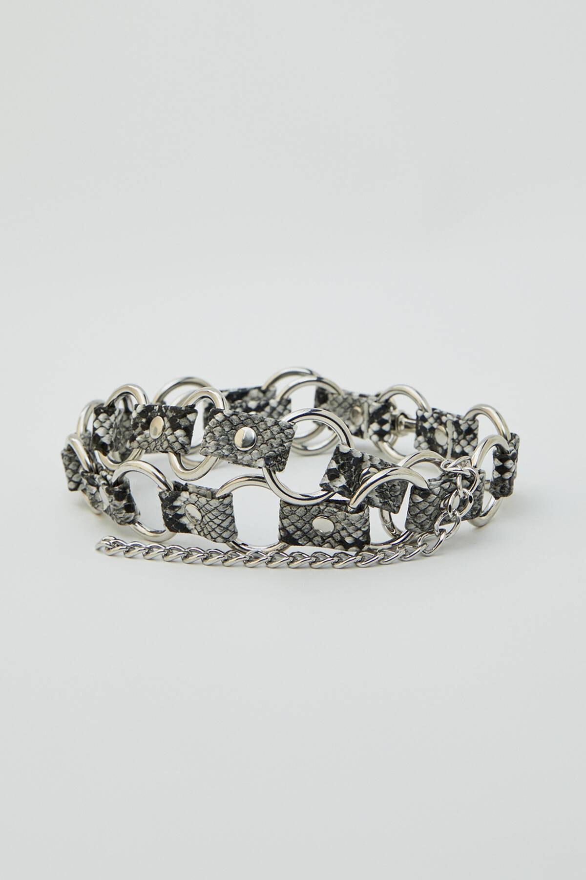 Pull & Bear Kadın Gümüş Gümüş Rengi Zincirli Kemer 09874314