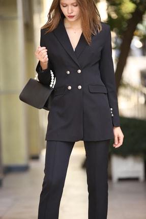 MANGOSTEEN Kadın Dört Düğmeli Uzun Ceket Siyah