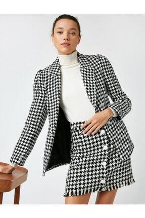 Koton Kadın Gri Kazayağı Cep Detaylı Blazer Ceket