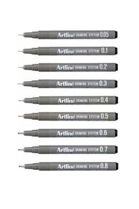 artline Drawing System Teknik Çizim Kalemi 9'li Tam Set Art-st2