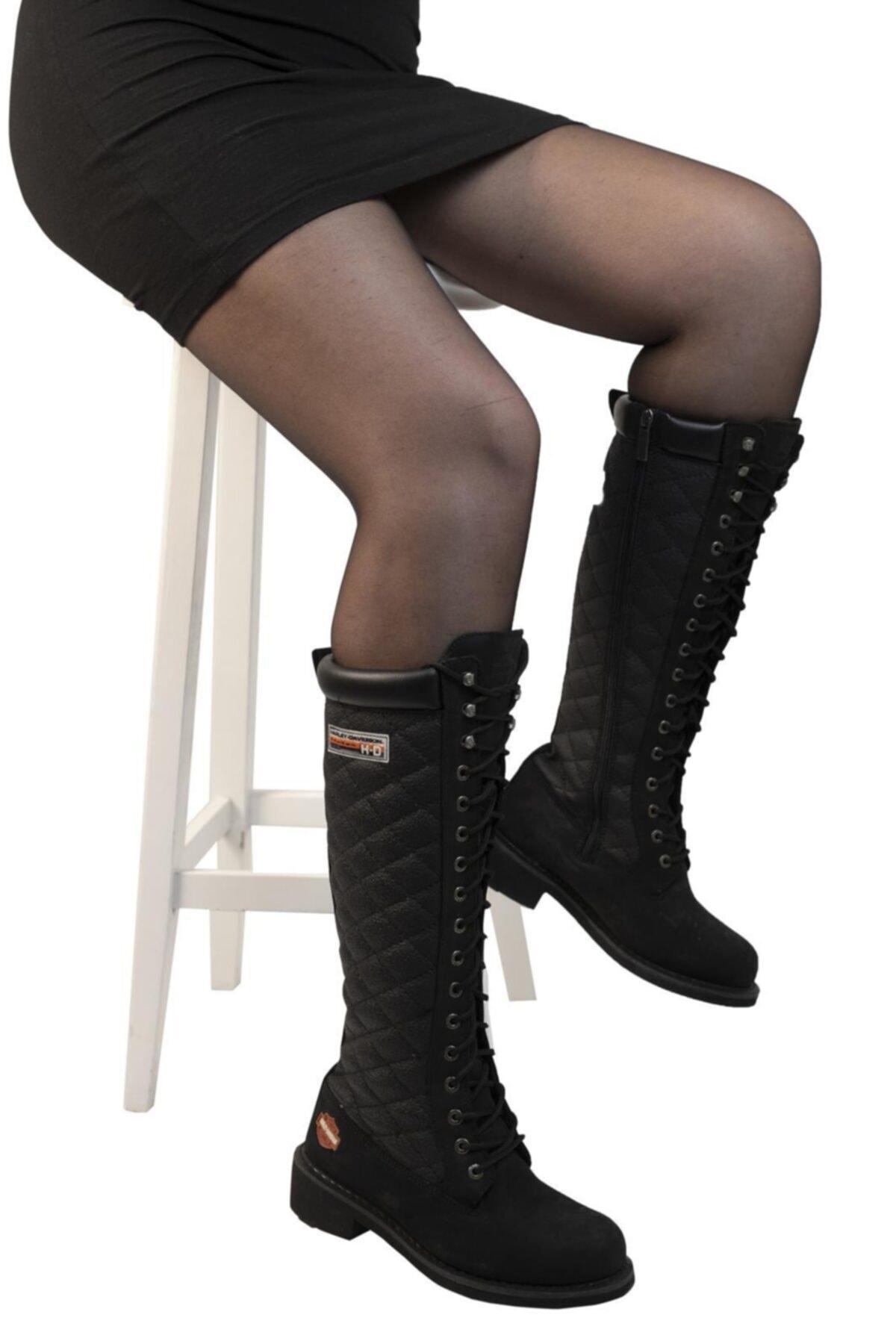 Harley Davidson Kadın Siyah Nubuk  Çizme 2