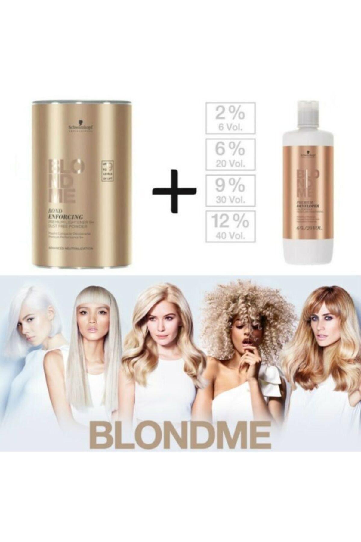 SCHWARZKOPF HAIR MASCARA Blondme Premium Lift+9 Açıcı 450 G + Oksidan %12 40 Volume 1000 Ml 2