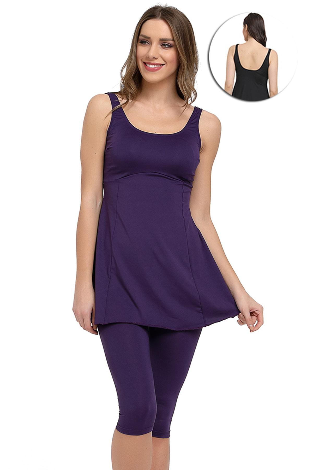 Mossta Kadın Mor Likralı Taytlı Elbise Mayo 1