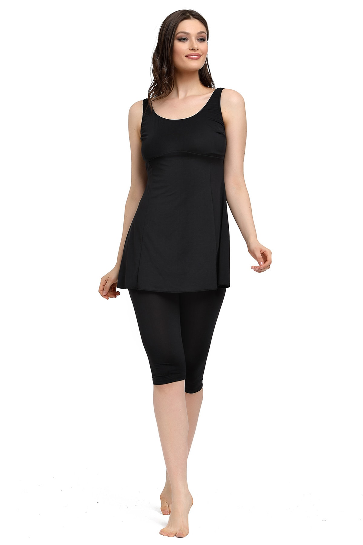 Mossta Kadın Siyah Likralı Taytlı Elbise Mayo 2