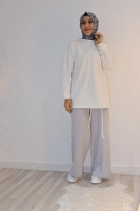 Loreen Kadın Gri Pantolon Geniş Paçalı Bel Lastikli