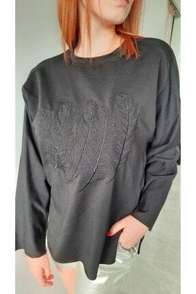 BEBE PLUS Kadın Siyah Tüy Işlemeli Sweatshirt