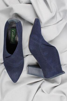 CZ London Kadın Lacivert Hakiki Deri Topuklu Ayakkabı
