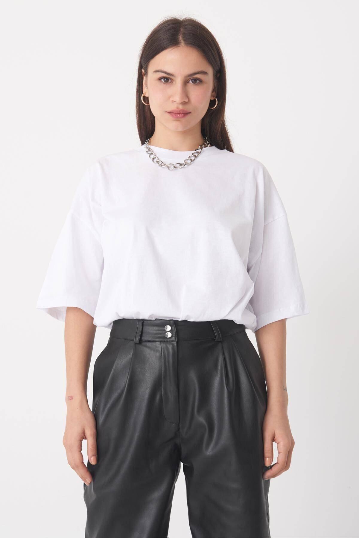 Addax Kadın Beyaz Oversize Tişört P0731 - İ5 ADX-0000020596 2