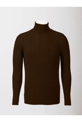 Mcr Erkek Kahverengi Model Balıkçı Yaka Uzun Kollu Triko Kazak 11336