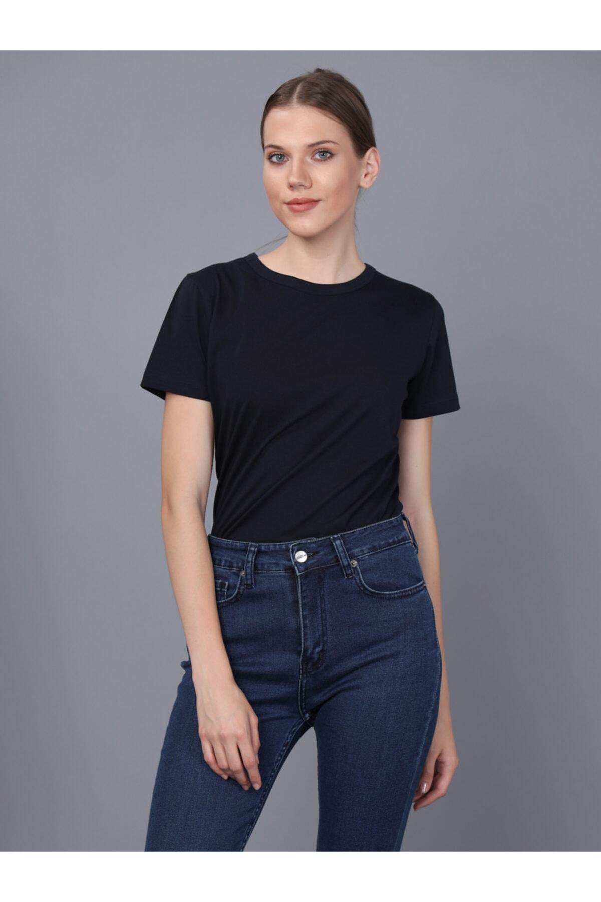 Basics&More Kadın Lacivert Bisiklet Yaka T-shirt 1