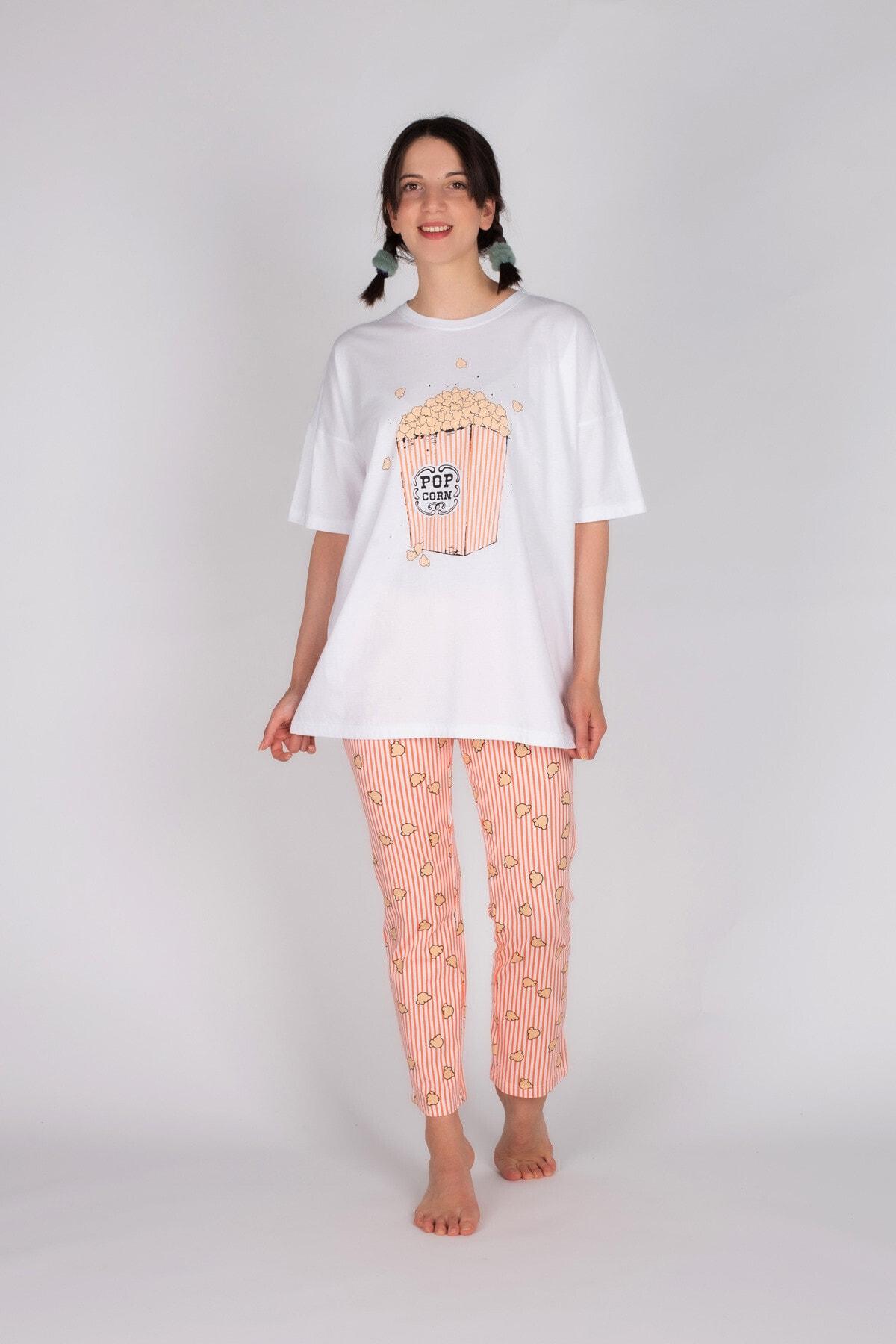 Hays Kadın Pembe Pamuklu Uzun Pijama Takımı 2