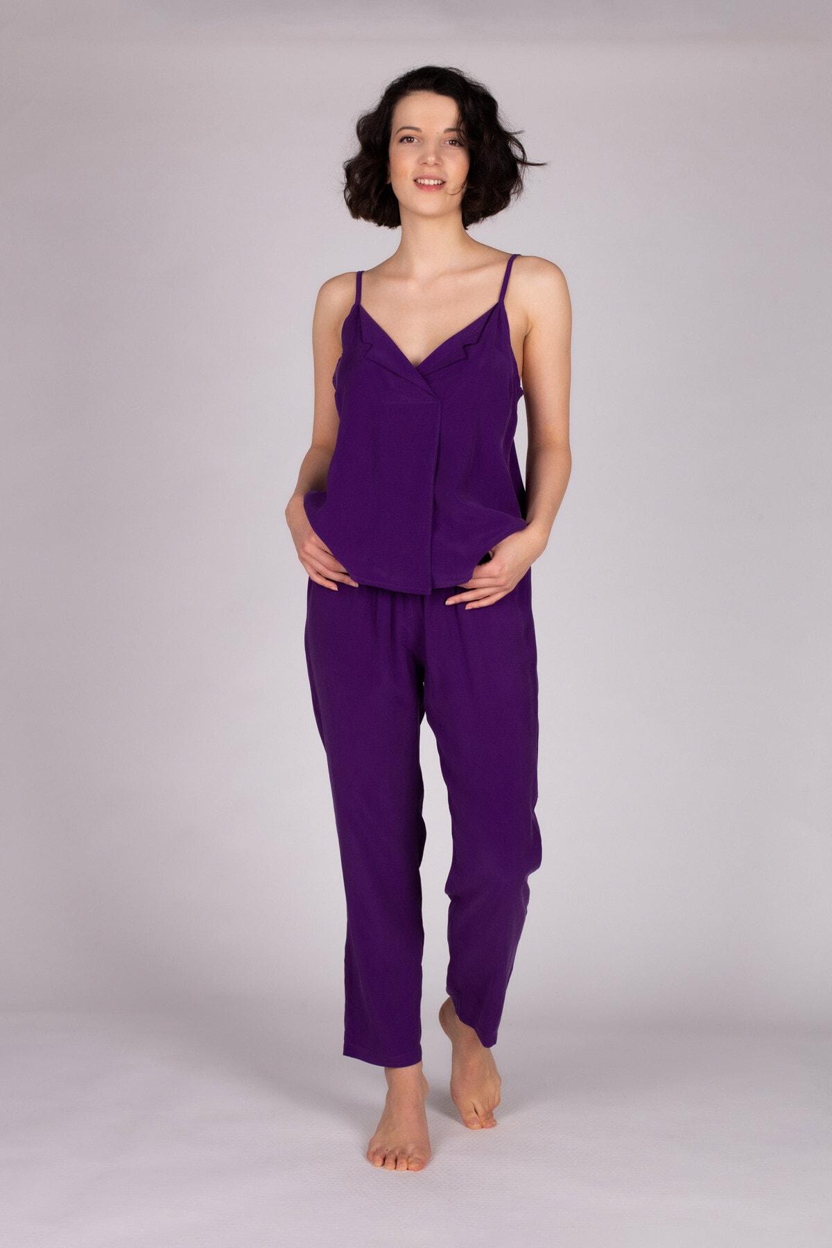 Hays Kadın Mor Vegan Uzun Pijama Takımı 2
