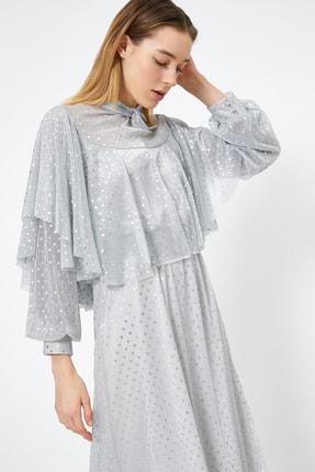 Koton Uzun Kollu Elbise Abiye Yakasi Volan Detayli Puantiye Desenli