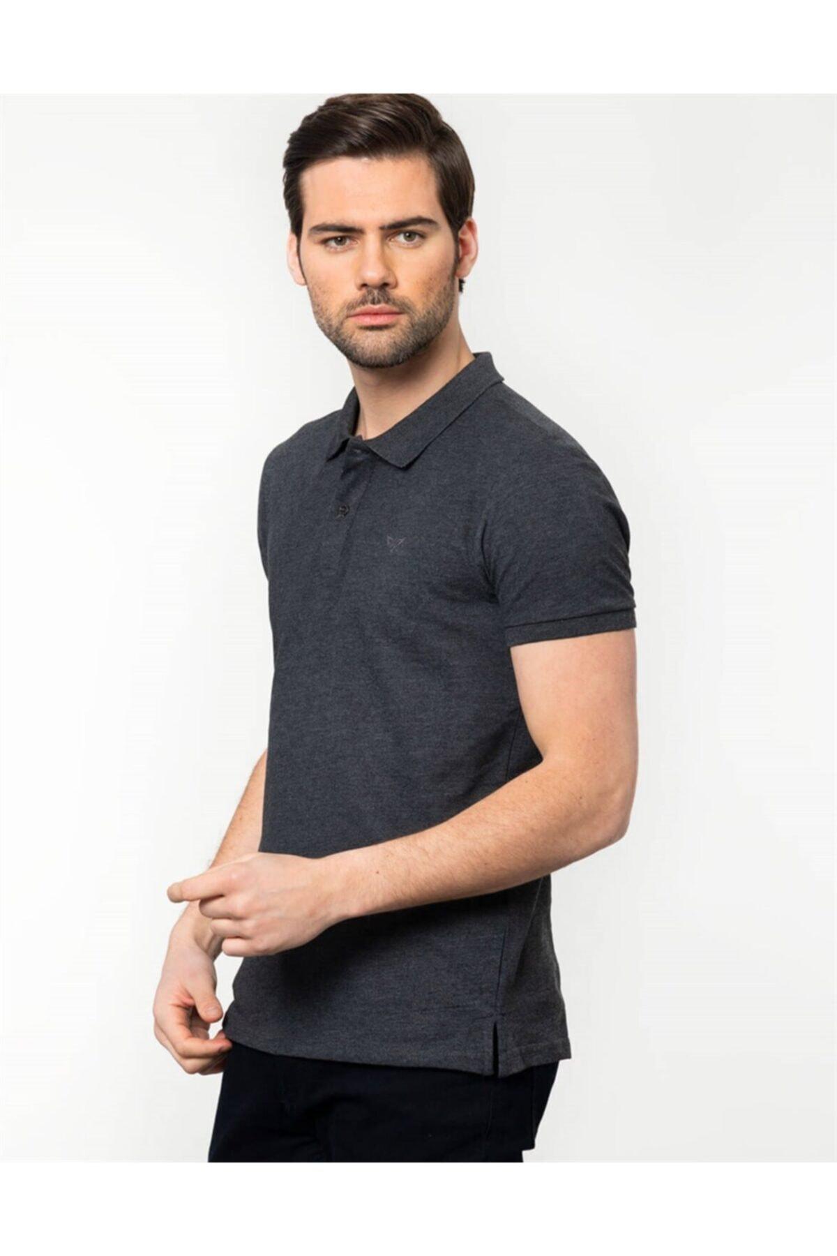 Tudors Erkek Gri Slim Fit Polo Yaka T-shirt 2