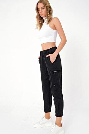 Trend Alaçatı Stili Kadın Siyah Fermuarlı Jogıng Kargo Pantolon DNZ-3113-RW1-RV-1