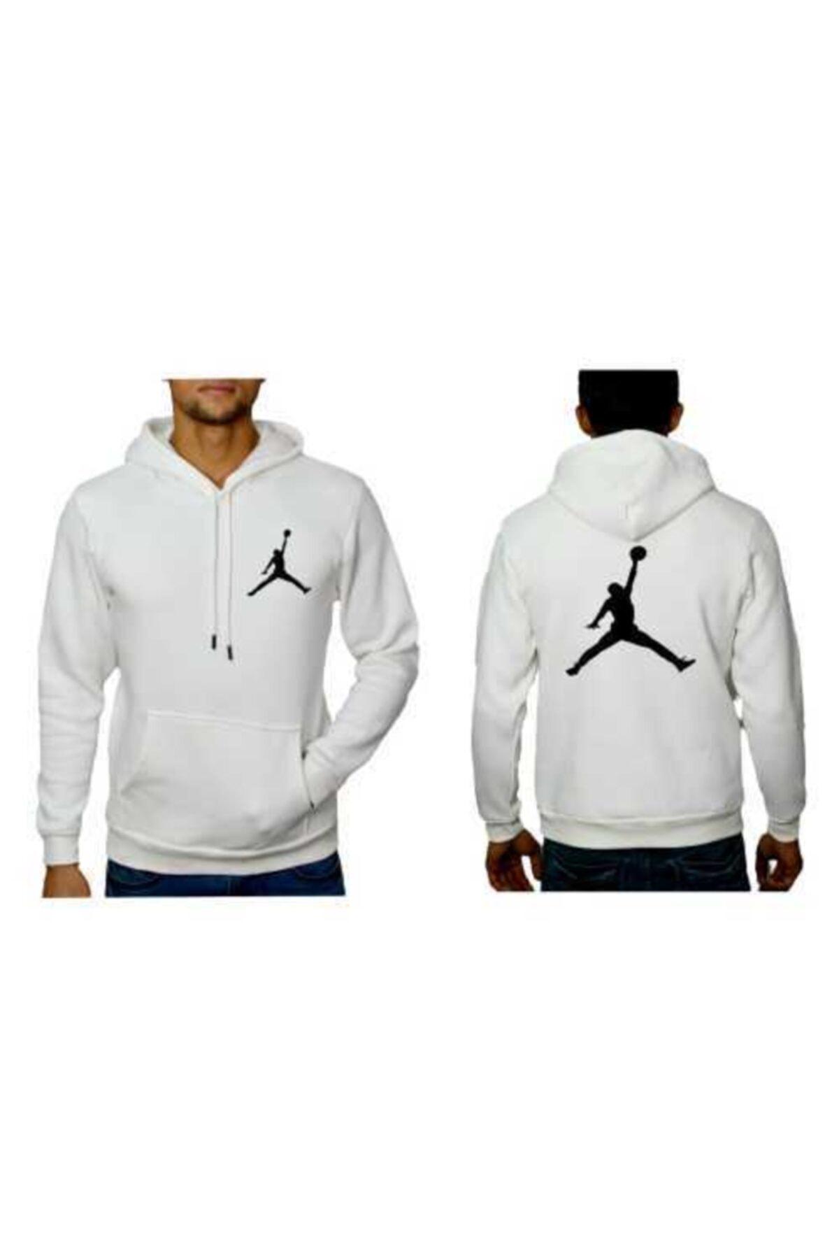 YOUWINNER Erkek Beyaz Kapşonlu 3 Iplik Air Jordan Baskılı Tshirt 2