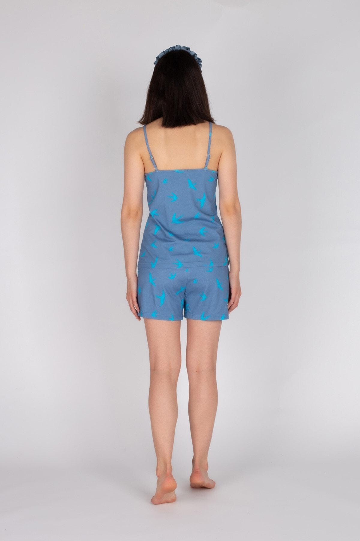 Hays Kadın Mavi Ip Askılı Kuş Desenli Şortlu Pijama Takımı 2