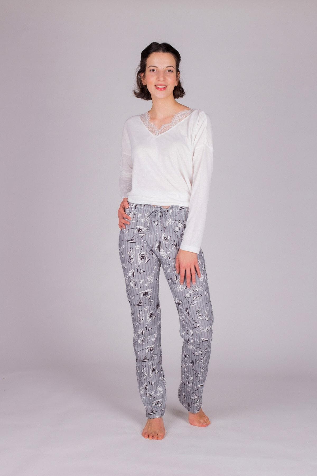 Hays Kadın Gri Uzun Pijama Takımı 1