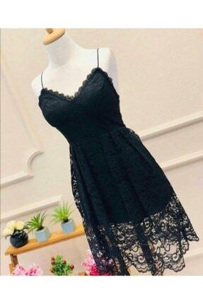 Bella Kadın Siyah Dantel Elbise