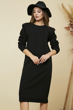 Sateen Kadın Siyah Vatkalı Midi Sweat Elbise  STN869KEL125