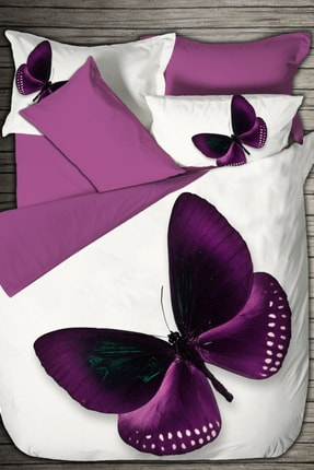 Luoca Patısca Luoca Patisca Pamuk Saten 3d Çift Kişilik Nevresim Takımı Purple Butterfly