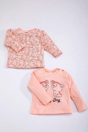Luggi Baby Kız Çocuk Pembe Pamuklu Köpekli Uzun Kollu İkili Pijama Üstü 4331