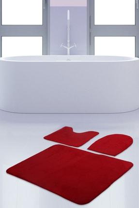 Bonny Home Unicolor Düz Kırmızı 3lü Banyo Paspası Halısı Seti Kaymaz Klozet Takımı