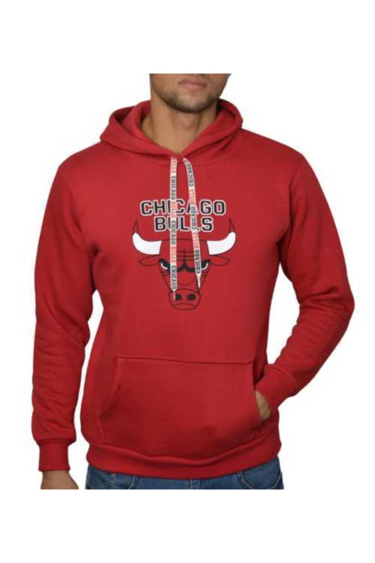 YOUWINNER Erkek Kırmızı Kapşonlu Chicago Bulls 3 Iplik Sweatshirt 1