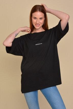 Mossta Kadın Siyah Boyfriend  T-shirt