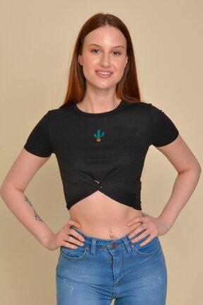 Mossta Kadın Siyah Kaktüs Nakışlı Crop T-Shirt