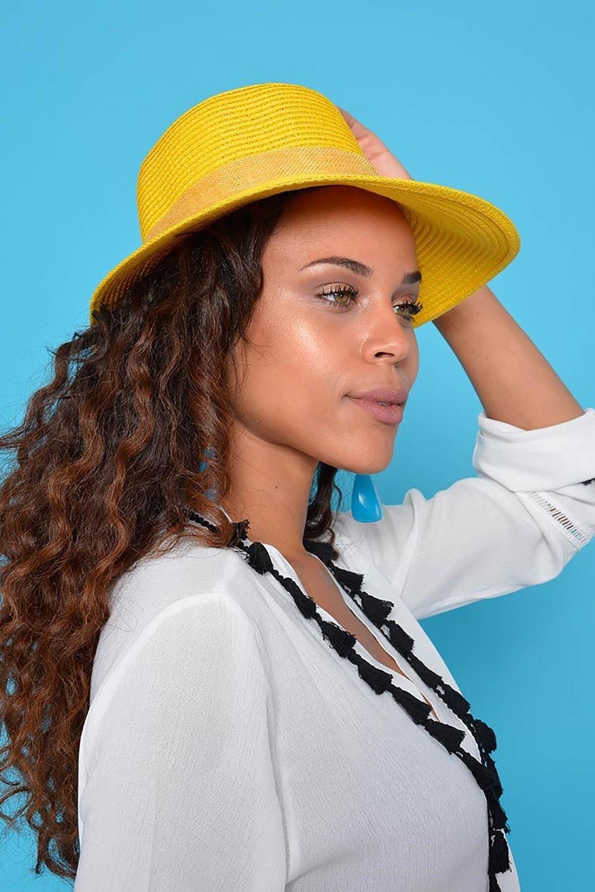 Mossta Kadın Sarı Hasır Şapka 1