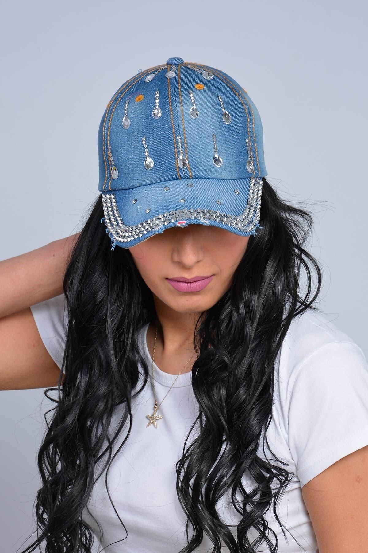 Mossta Kadın Lacivert Damla Taşlı Kot Şapka 1