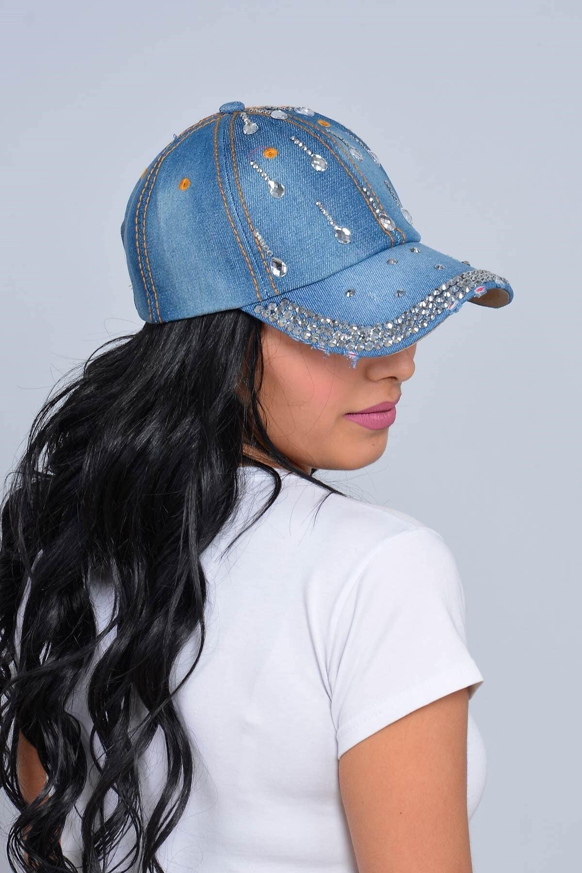 Mossta Kadın Lacivert Damla Taşlı Kot Şapka 2