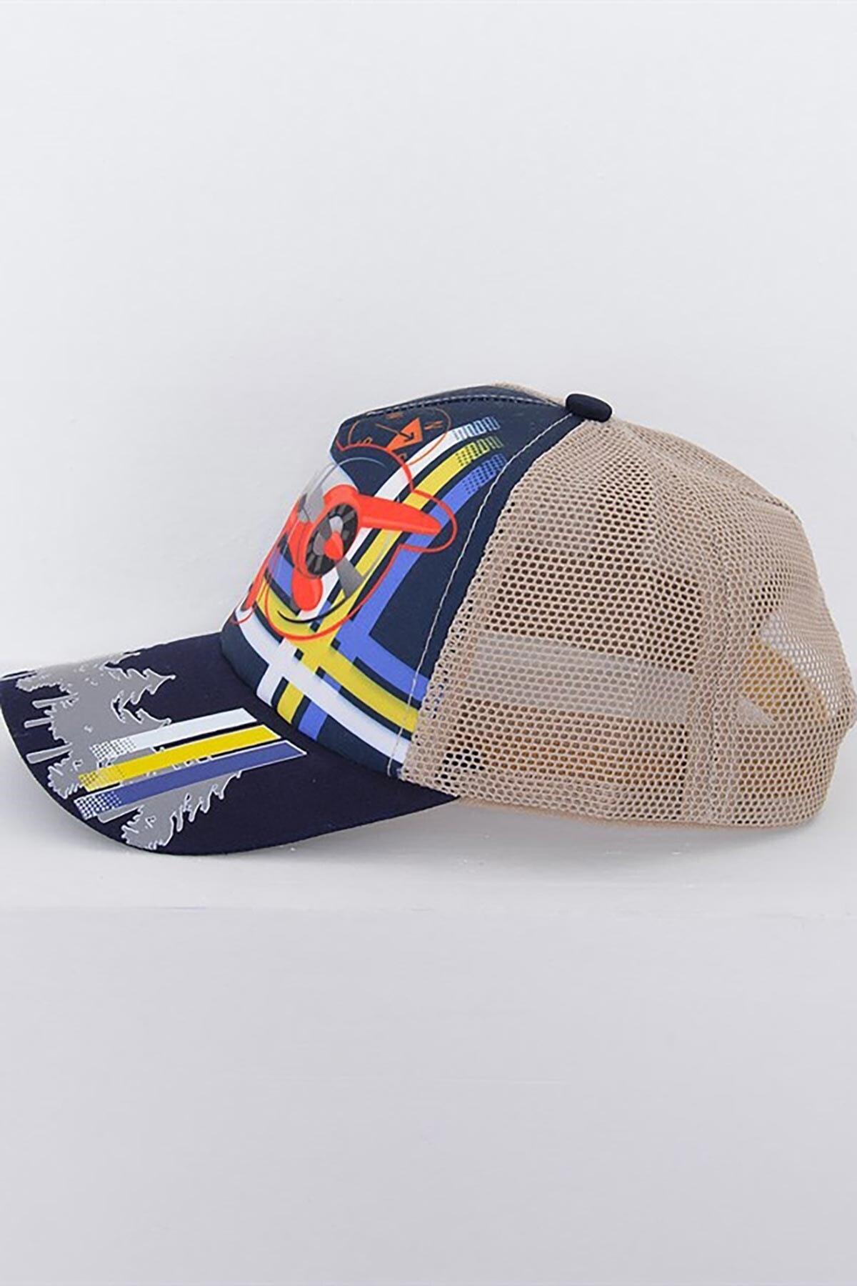 Mossta Erkek Çocuk Bej Uçak Baskılı 6-12 Yaş Şapka 2
