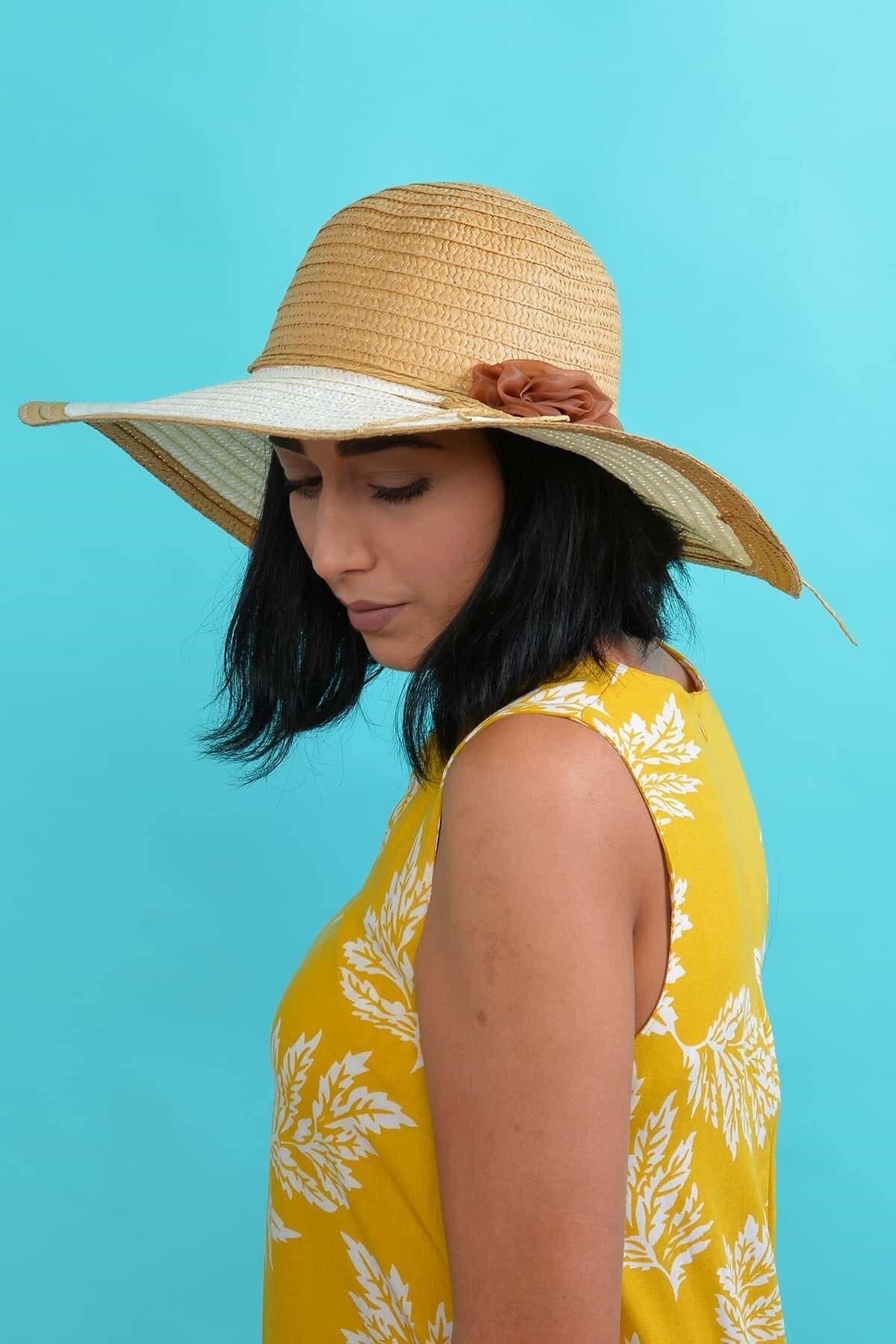 Mossta Kadın Bej Çiçekli Hasır Şapka 1