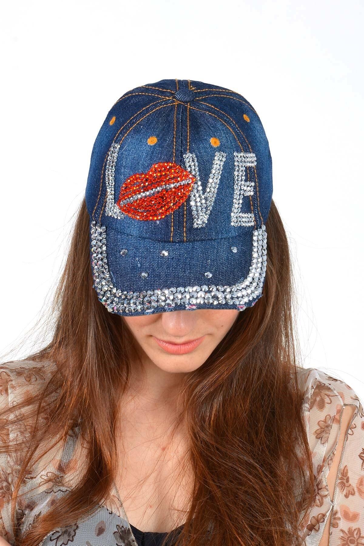 Mossta Kadın Lacivert Love Taşlı  Kot Şapka 2